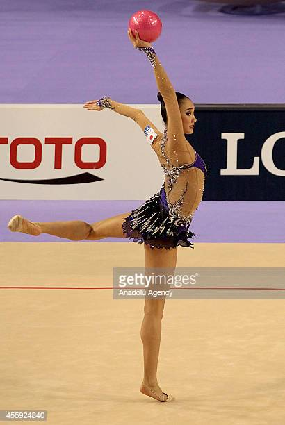 Sakura Hayakawa of Japan competes during the first day of 33rd Rhythmic Gymnastics World Championships in Izmir Turkey on September 22 2014