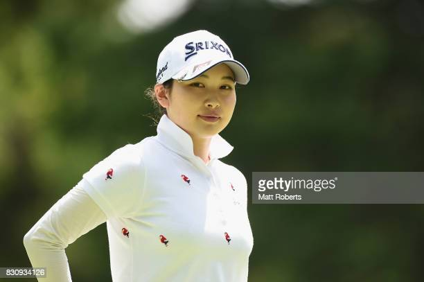 Sakura Koiwai of Japan looks on during the final round of the NEC Karuizawa 72 Golf Tournament 2017 at the Karuizawa 72 Golf North Course on August...