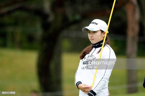 Sakura Koiwai of Japan watches on the 10th hole during the final round of the Kyoto Ladies Open at the Joyo Country Club on October 20 2017 in Joyo...