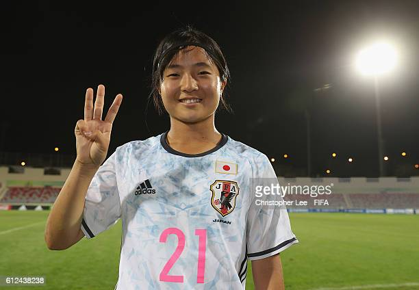 Sakura Nojima of Japan celebrates their victory and holds up three fingers for her hattrick during the FIFA U17 Women's World Cup Jordan 2016 Group D...