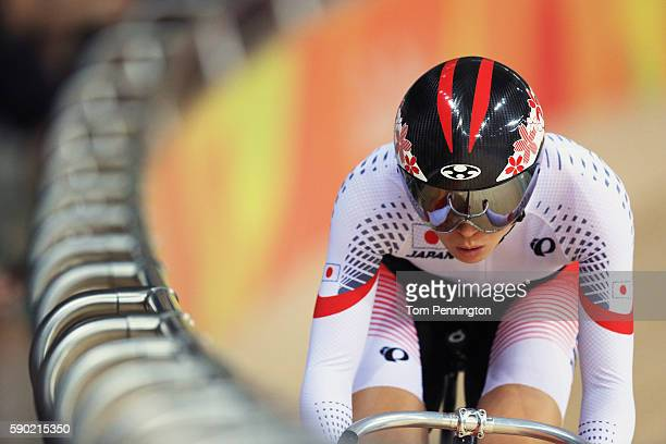 Sakura Tsukagoshi of Japan competes during the Women's Omnium Flying Lap race on Day 11 of the Rio 2016 Olympic Games at the Rio Olympic Velodrome on...