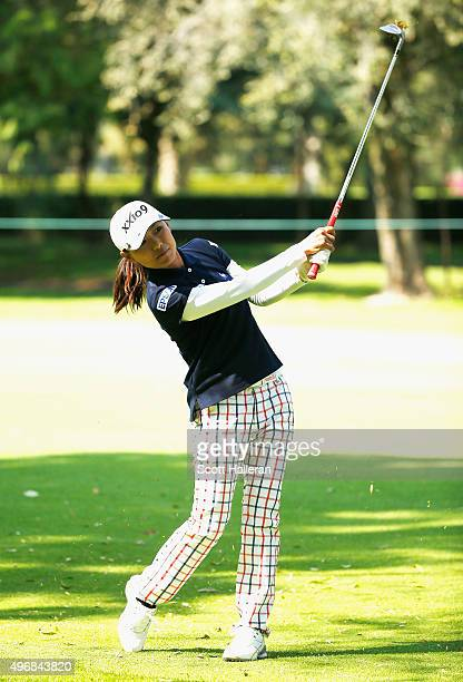 Sakura Yokomine of Japan hits a shot on the second hole during the first round of the Lorena Ochoa Invitational Presented By Banamex at the Club de...