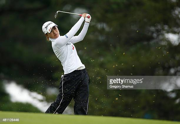 Sakura Yokomine of Japan hits from the first fairway during the second round of the Marathon Classic presented by Owens Corning and OI at Highland...