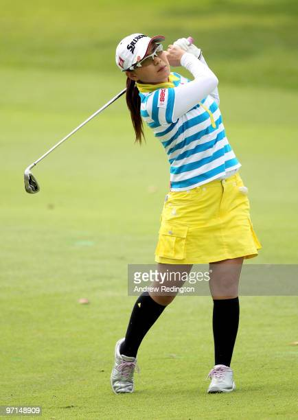 Sakura Yokomine of Japan hits her second shot on the seventh hole during the final round of the HSBC Women's Champions at the Tanah Merah Country...