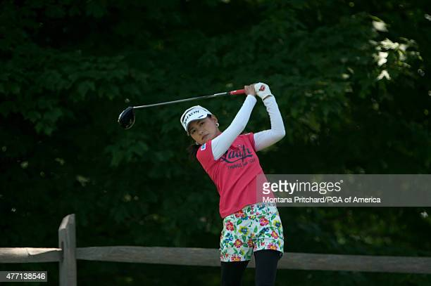 Sakura Yokomine of Japan hits her shot on two during the Final Round of the 2015 KPMG Women's PGA Championship held at Westchester Country Club on...