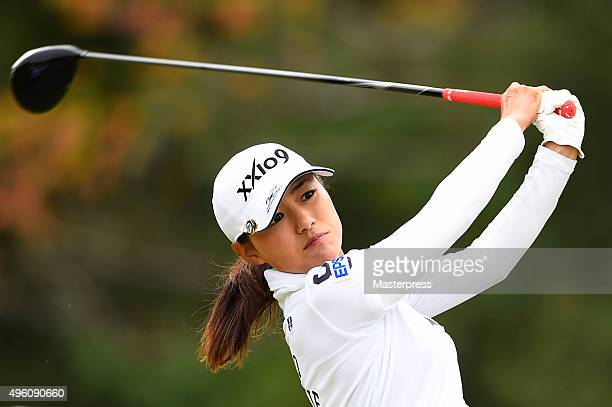 Sakura Yokomine of Japan hits her tee shot on the 13th hole during the second round of the TOTO Japan Classics 2015 at the Kintetsu Kashikojima...