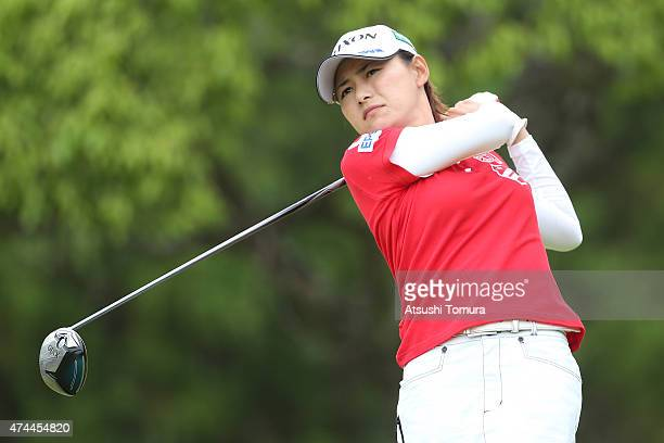 Sakura Yokomine of Japan hits her tee shot on the 3rd hole during the second round of the Chukyo Television Bridgestone Ladies Open at the Chukyo...