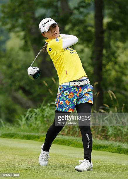 Sakura Yokomine of Japan hits her tee shot on the second hole during the final round of the US Women's Open at Lancaster Country Club on July 12 2015...