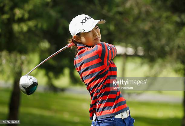 Sakura Yokomine of Japan hits her tee shot on the second hole during the second round of the Lorena Ochoa Invitational Presented By Banamex at the...