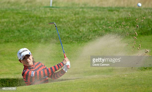 Sakura Yokomine of Japan in action during her final practice round as a preview for the 2015 Ricoh Women's British Open on the Ailsa Course at the...