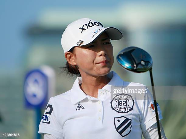 Sakura Yokomine of Japan looks on after she tee off on the 10th hole during round 2 on Day 5 of Blue Bay LPGA 2015 at Jian Lake Blue Bay golf course...