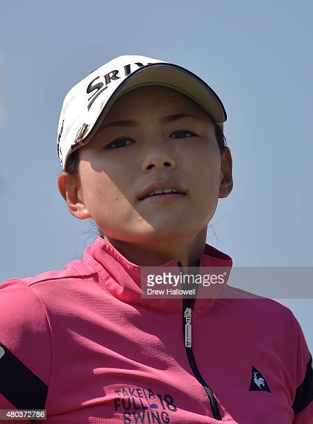 Sakura Yokomine of Japan looks on from the tenth hole during the third round of the US Women's Open at Lancaster Country Club on July 11 2015 in...