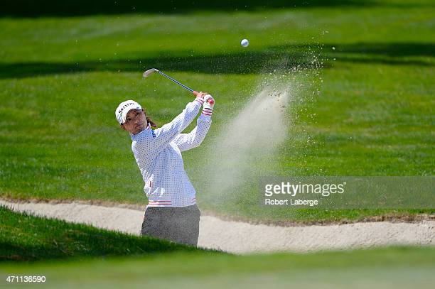 Sakura Yokomine of Japan makes a shot out of a bunker on the sixth hole during round three of the Swinging Skirts LPGA Classic presented by CTBC at...