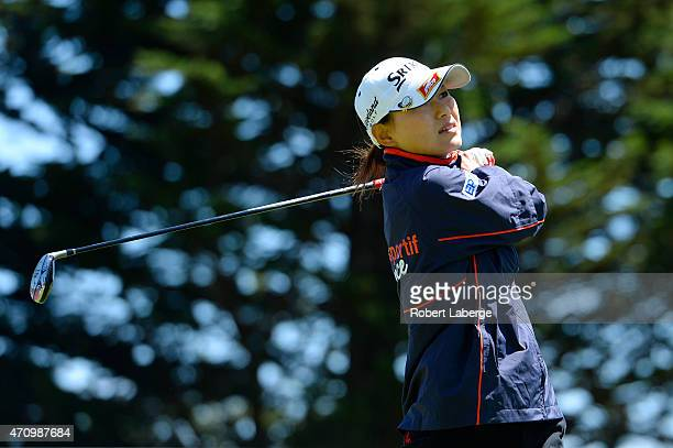 Sakura Yokomine of Japan makes a tee shot on the 15th hole during round two of the Swinging Skirts LPGA Classic presented by CTBC at the Lake Merced...
