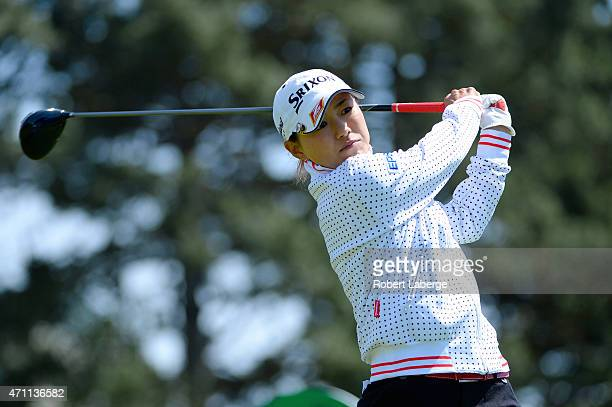 Sakura Yokomine of Japan makes a tee shot on the fifth hole during round three of the Swinging Skirts LPGA Classic presented by CTBC at the Lake...