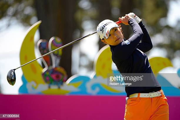 Sakura Yokomine of Japan makes a tee shot on the second hole during the final round of the Swinging Skirts LPGA Classic presented by CTBC at the Lake...