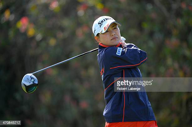 Sakura Yokomine of Japan makes a tee shot on the tenth hole during round one of the Swinging Skirts LPGA Classic presented by CTBC at the Lake Merced...