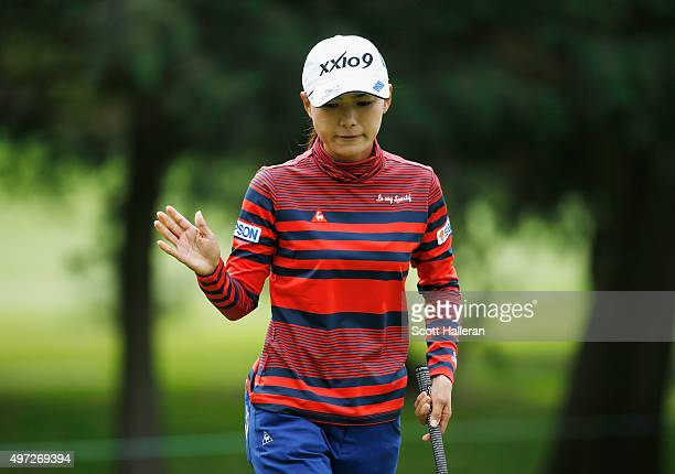 Sakura Yokomine of Japan makes birdie on the second hole during the final round of the Lorena Ochoa Invitational Presented By Banamex at the Club de...
