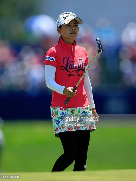 Sakura Yokomine of Japan on the green at the par 3 1st hole during the final round of the 2015 KPMG Women's PGA Championship on the West Course at...