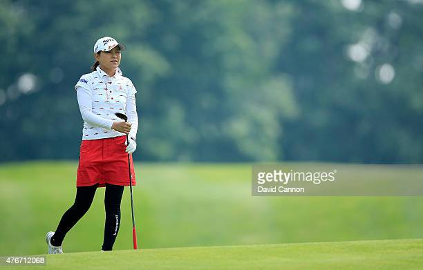 Sakura Yokomine of Japan plays her second shot at the par 4 4th hole during the first round of the 2015 KPMG Women's PGA Championship on the West...