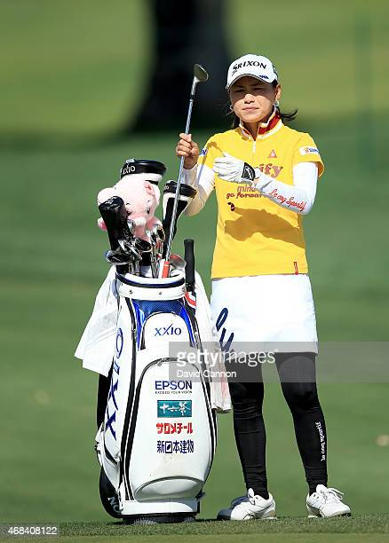 Sakura Yokomine of Japan plays her second shot on the 13th hole during the first round of the ANA Inspiration on the Dinah Shore Tournament Course at...