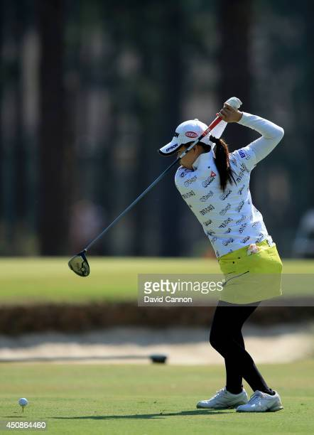 Sakura Yokomine of Japan plays her tee shot at the par 4 18th hole during the first round of the 69th US Women's Open at Pinehurst Resort Country...