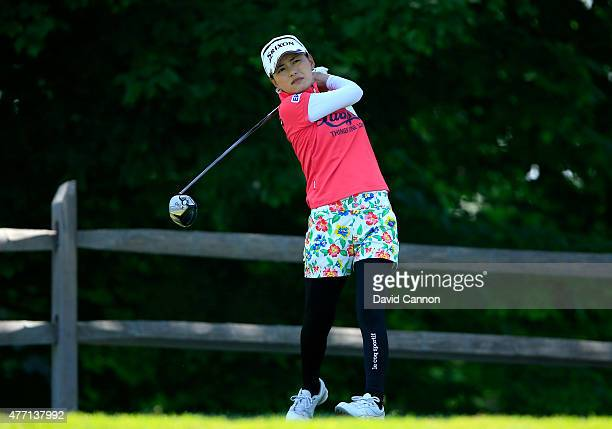 Sakura Yokomine of Japan plays her tee shot at the par 4 2nd hole during the final round of the 2015 KPMG Women's PGA Championship on the West Course...