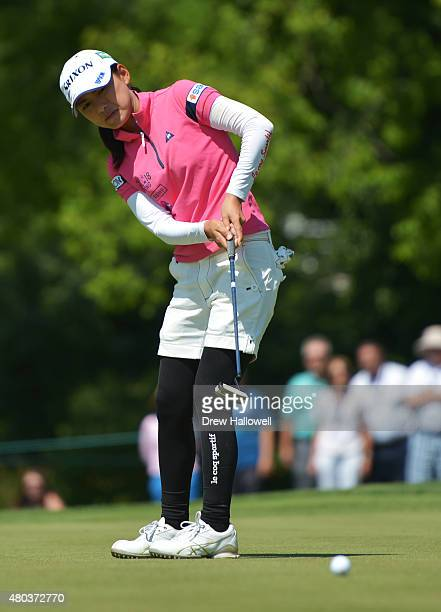 Sakura Yokomine of Japan puts on the tenth hole during the third round of the US Women's Open at Lancaster Country Club on July 11 2015 in Lancaster...