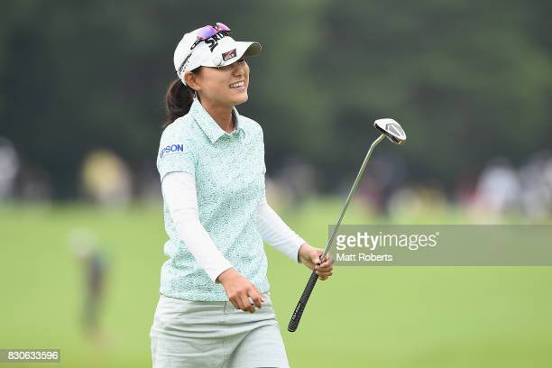 Sakura Yokomine of Japan reacts after her putt on the 18th green during the second round of the NEC Karuizawa 72 Golf Tournament 2017 at the...