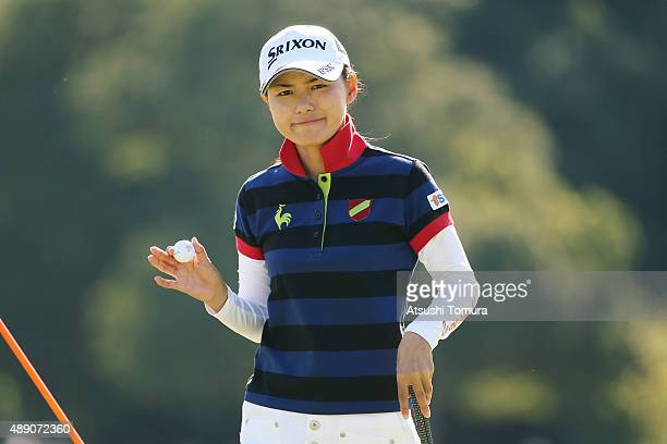 Sakura Yokomine of Japan reacts during the second round of the Munsingwear Ladies Tokai Classic at the Shin Minami Aichi Country Club Mihama Course...