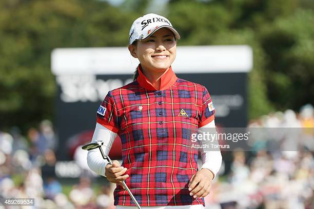 Sakura Yokomine of Japan smiles during the final round of the Munsingwear Ladies Tokai Classic at the Shin Minami Aichi Country Club Mihama Course on...