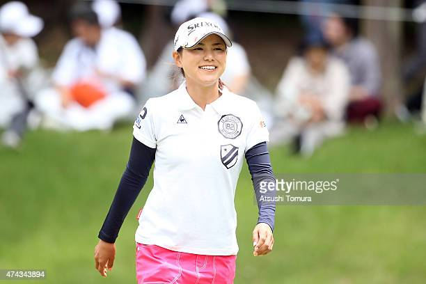 Sakura Yokomine of Japan smiles during the first round of the Chukyo Television Bridgestone Ladies Open at the Chukyo Golf Club Ishino Course on May...