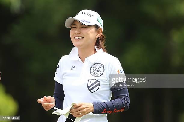 Sakura Yokomine of Japan smiles during the first round of the Chukyo Television Bridgestone Ladies Open at the Chukyo Golf Club Ishino Course on May...