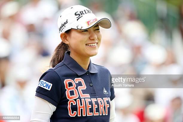 Sakura Yokomine of Japan smiles during the first round of the Munsingwear Ladies Tokai Classic at the Shin Minami Aichi Country Club Mihama Course on...
