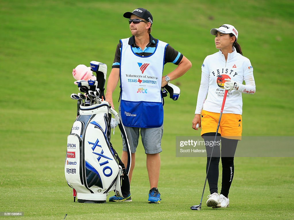 <a gi-track='captionPersonalityLinkClicked' href=/galleries/search?phrase=Sakura+Yokomine&family=editorial&specificpeople=868619 ng-click='$event.stopPropagation()'>Sakura Yokomine</a> of Japan waits with her caddie on the tenth hole during the second round of the Volunteers of America Texas Shootout at Las Colinas Country Club on April 29, 2016 in Irving, Texas.