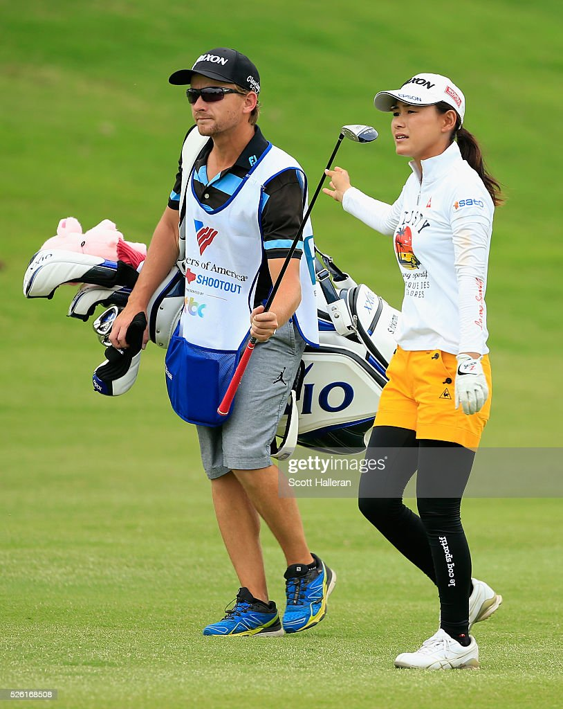 <a gi-track='captionPersonalityLinkClicked' href=/galleries/search?phrase=Sakura+Yokomine&family=editorial&specificpeople=868619 ng-click='$event.stopPropagation()'>Sakura Yokomine</a> of Japan walks with her caddie on the tenth hole during the second round of the Volunteers of America Texas Shootout at Las Colinas Country Club on April 29, 2016 in Irving, Texas.