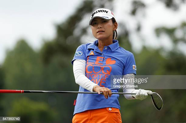 Sakura Yokomine of Japan watches her drive on the 15th hole during the first round of the Marathon Classic presented by Owens Corning and OI at...