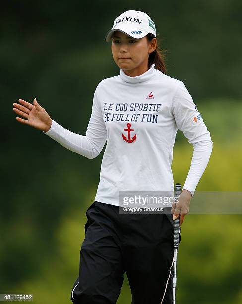 Sakura Yokomine of Japan waves to fans after making a putt on the first green during the second round of the Marathon Classic presented by Owens...