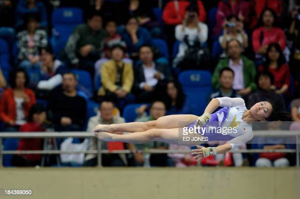 Sakura Yumoto of Japan competes during the Women's Vault final gymnastics event of the 6th East Asian Games in Tianjin on October 13 2013 The eastern...