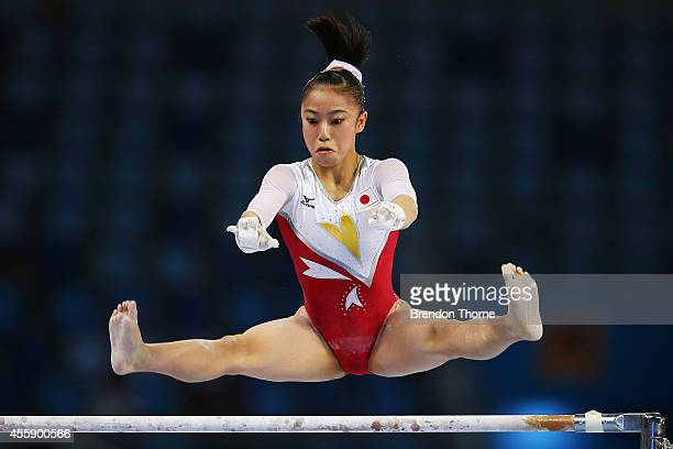 Sakura Yumoto of Japan competes in the Qualifying round of the Women's Uneven Bars during day three of the 2014 Asian Games at the Namdong Gymnasium...
