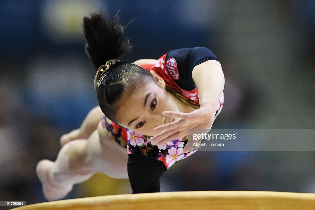 Sakura Yumoto of Japan competes on the Vault during the 68th All Japan Gymnastics Apparatus Championships on July 6, 2014 in Chiba, Japan.