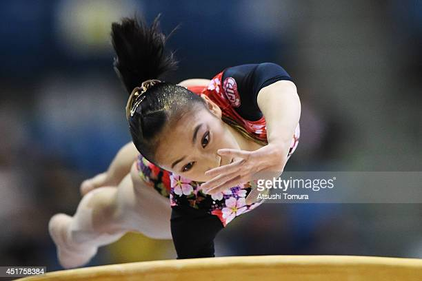 Sakura Yumoto of Japan competes on the Vault during the 68th All Japan Gymnastics Apparatus Championships on July 6 2014 in Chiba Japan