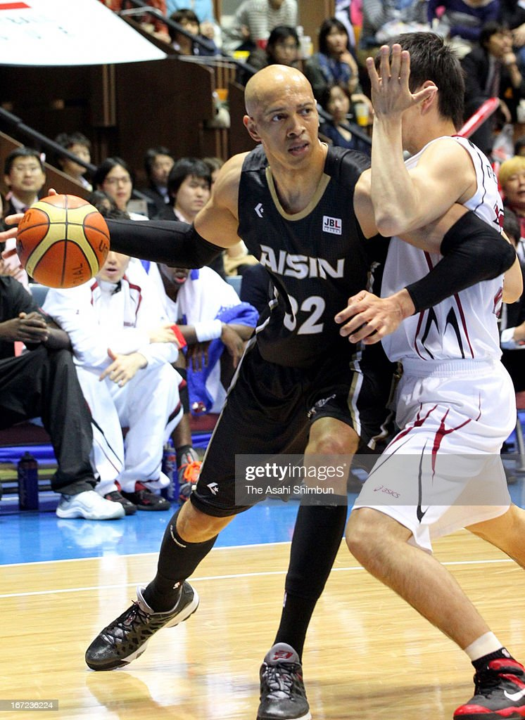 JR Sakuragi of Aisin Sea Horses in action during the Japan Basketball League Playoff Game 5 between Aisin Sea Horses and Toshiba Brave Thunders at Yoyogi Gymnasium on April 22, 2013 in Tokyo, Japan.