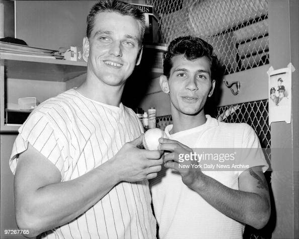 Sal Durante presents Roger Maris of the New York Yankees with the ball he laced 360 feet for his 61st homer of the year against the Boston Red Sox on...
