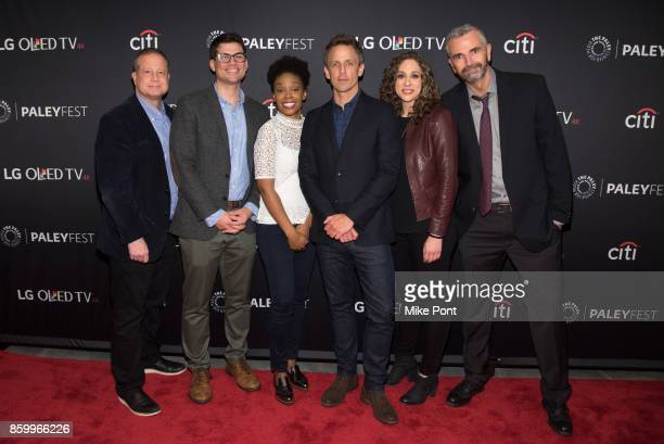 Sal Gentile Amber Ruffin Seth Meyers Jenny Hagel and Alex Baz attend 'Late Night With Seth Meyers' during PaleyFest NY 2017 at The Paley Center for...