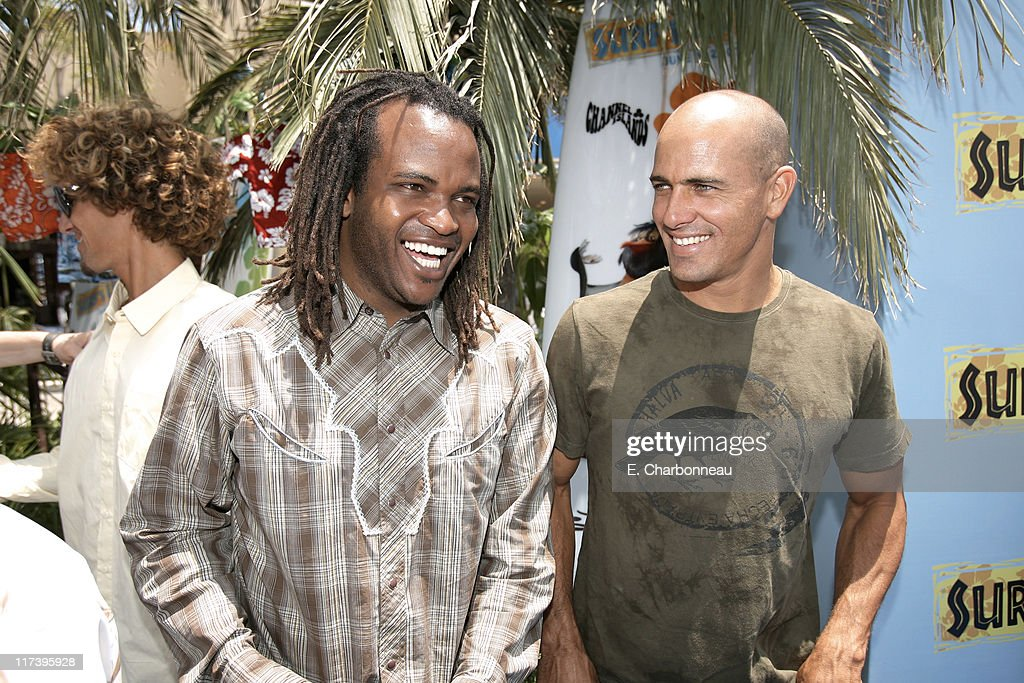 Sal Masekela and Kelly Slater during The Premiere of Columbia Pictures and Sony Pictures Animation's 'SURF'S UP' at Mann Village Theatre in Westwood...