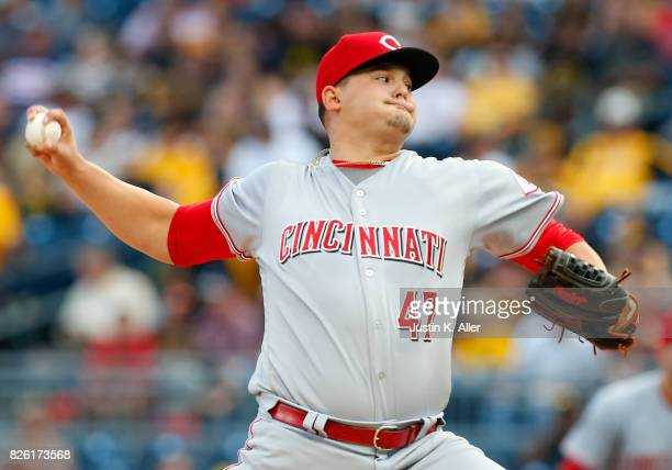 Sal Romano of the Cincinnati Reds pitches in the first inning against the Pittsburgh Pirates at PNC Park on August 3 2017 in Pittsburgh Pennsylvania
