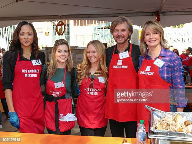 Sal Stowers Jen Lilley Marci Miller Stephen Nichols and Deidra Hall are seen at LA Mission Thanksgiving Dinner for the homeless on November 23 2016...