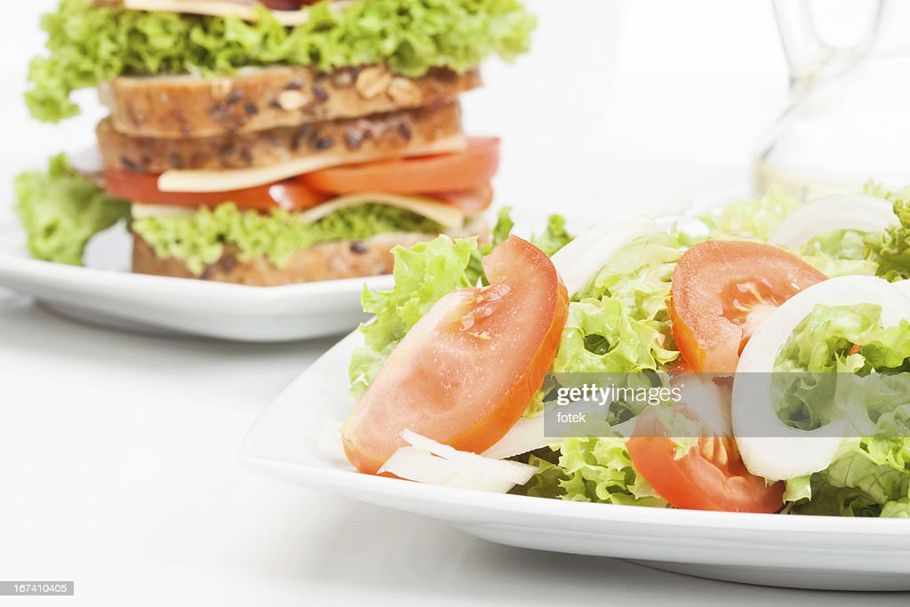 Salad and sandwiches : Stockfoto