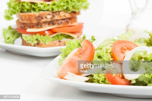 Salad and sandwiches : Stock Photo
